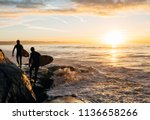 morning surf in santa cruz  ca | Shutterstock . vector #1136658266