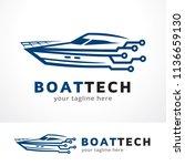 boat technology logo template... | Shutterstock .eps vector #1136659130