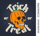 Halloween Pumpkin Skull On Dar...