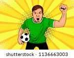 young happy football fan with... | Shutterstock .eps vector #1136663003