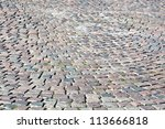 background texture of cobblestone pavement - stock photo