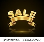 sale with ribbon gold style.... | Shutterstock .eps vector #1136670920