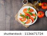 close up photo of caprese salad ... | Shutterstock . vector #1136671724