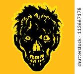 zombie face in orange   yellow... | Shutterstock . vector #113667178