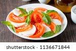 close up photo of caprese salad ... | Shutterstock . vector #1136671844