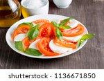 close up photo of caprese salad ... | Shutterstock . vector #1136671850