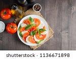 close up photo of caprese salad ... | Shutterstock . vector #1136671898