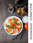 close up photo of caprese salad ... | Shutterstock . vector #1136671958