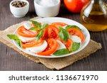 close up photo of caprese salad ... | Shutterstock . vector #1136671970