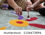 preparation of colorful rangoli ... | Shutterstock . vector #1136673896