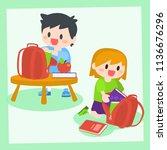 children  boy and girl getting... | Shutterstock .eps vector #1136676296