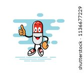 capsule mascot thumb style  can ... | Shutterstock .eps vector #1136677229