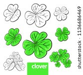 clover set  vector illustration ... | Shutterstock .eps vector #1136686469