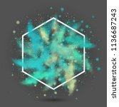 explosion of colored powder.... | Shutterstock .eps vector #1136687243