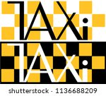 black and white taxi... | Shutterstock .eps vector #1136688209