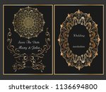 wedding invitation.save the... | Shutterstock .eps vector #1136694800