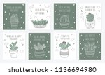 vector set of postcards with... | Shutterstock .eps vector #1136694980