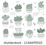 vector line drawing set of... | Shutterstock .eps vector #1136695010