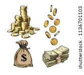 finance  money set. sketch of... | Shutterstock .eps vector #1136701103