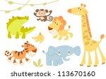 Stock vector cute animal set 113670160