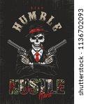 skeleton gangster with... | Shutterstock .eps vector #1136702093
