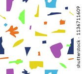 colorful scraps of paper.... | Shutterstock .eps vector #1136711609