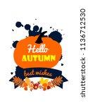 thanksgiving illustration with... | Shutterstock .eps vector #1136712530