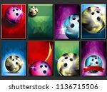 bowling poster set vector.... | Shutterstock .eps vector #1136715506