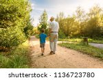 back view of grandfather with... | Shutterstock . vector #1136723780