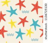 marine seamless pattern | Shutterstock .eps vector #1136725130