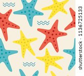 marine seamless pattern | Shutterstock .eps vector #1136725133