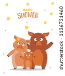 portrait hog family on baby... | Shutterstock .eps vector #1136731460