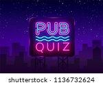 pub quiz night announcement... | Shutterstock .eps vector #1136732624