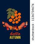 hello autumn leave and rowan.... | Shutterstock .eps vector #1136734676