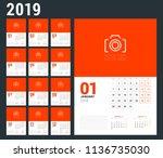 wall calendar planner template... | Shutterstock .eps vector #1136735030