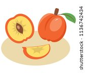 peach on the plate illustration ... | Shutterstock .eps vector #1136742434