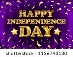 raster copy happy independence... | Shutterstock . vector #1136743130