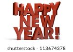 3d render of the text happy new year - stock photo