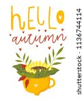autumn card template with... | Shutterstock .eps vector #1136744114