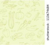 vegetable doodles seamless... | Shutterstock .eps vector #113674684