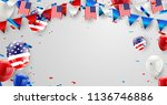 labor day card design american... | Shutterstock .eps vector #1136746886
