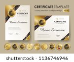 certificate template with... | Shutterstock .eps vector #1136746946