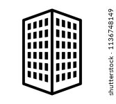 Office building or corporate company headquarters line art vector icon for real estate apps and websites