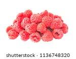 pile of red ripe raspberries... | Shutterstock . vector #1136748320