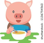 pig eating porridge  | Shutterstock .eps vector #1136754563