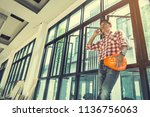 architect and engineer inspect... | Shutterstock . vector #1136756063