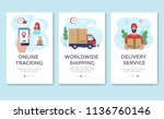 delivery service banner  mobile ... | Shutterstock .eps vector #1136760146