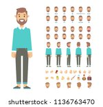 front  side  back view animated ... | Shutterstock .eps vector #1136763470