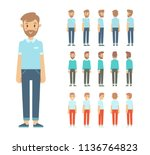 front  side  back view animated ... | Shutterstock .eps vector #1136764823