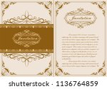 decorative frame in vintage... | Shutterstock .eps vector #1136764859